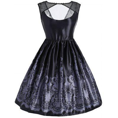 Baroque Print Mesh Panel Sleeveless Vintage Dress