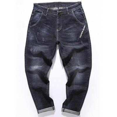 Zip Fly Graphic Print Tapered Fit Jeans