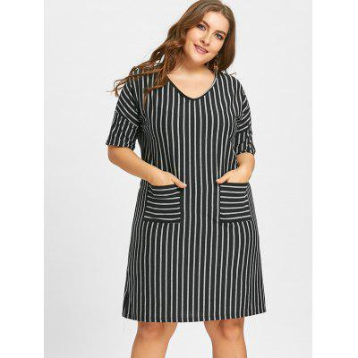 Plus Size Vertical Stripe Shift Dress with PocketPlus Size Dresses<br>Plus Size Vertical Stripe Shift Dress with Pocket<br><br>Dresses Length: Knee-Length<br>Embellishment: Front Pocket<br>Material: Cotton Blend, Polyester<br>Neckline: Scoop Neck<br>Package Contents: 1 x Dress<br>Pattern Type: Striped<br>Season: Fall, Winter<br>Silhouette: Straight<br>Sleeve Length: 3/4 Length Sleeves<br>Style: Casual<br>Weight: 0.3500kg<br>With Belt: No