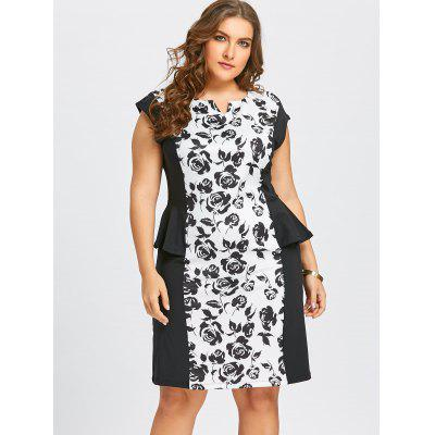 Plus Size Notched Floral Fitted Peplum DressPlus Size Dresses<br>Plus Size Notched Floral Fitted Peplum Dress<br><br>Dresses Length: Knee-Length<br>Embellishment: Flounce,Ruffles<br>Material: Polyester<br>Neckline: V-Neck<br>Package Contents: 1 x Dress<br>Pattern Type: Floral<br>Season: Fall, Winter<br>Silhouette: Sheath<br>Sleeve Length: Short Sleeves<br>Sleeve Type: Cap Sleeve<br>Style: Work<br>Weight: 0.4500kg<br>With Belt: No
