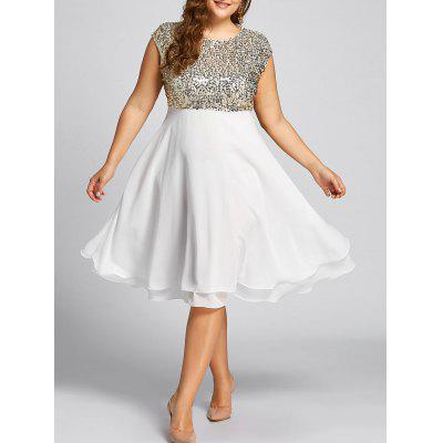 Buy GOLDEN 2XL Flounce Plus Size Sequin Sparkly Cocktail Dress for $32.92 in GearBest store