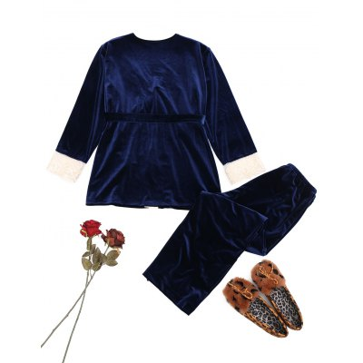 Velvet Lace Trim Sleepwear SetPajamas<br>Velvet Lace Trim Sleepwear Set<br><br>Material: Polyester, Spandex<br>Package Contents: 1 x Robe  1 x Camisole  1 x Pants  1 x Belt<br>Pattern Type: Solid<br>Weight: 0.7700kg