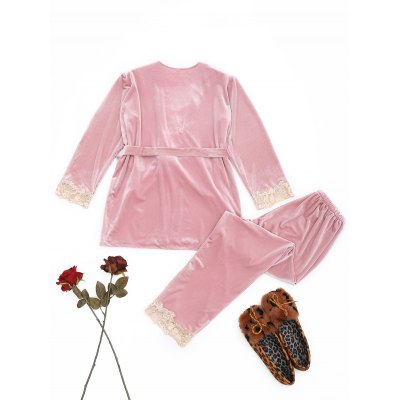 Lace Trim Velvet Sleepwear SetPajamas<br>Lace Trim Velvet Sleepwear Set<br><br>Material: Polyester, Spandex<br>Package Contents: 1 x Robe  1 x Camisole  1 x Pants  1 x Belt<br>Pattern Type: Solid<br>Weight: 0.7700kg