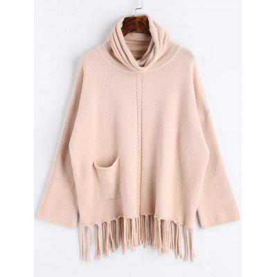 Apricot Turtleneck Fringed Oversized Pullover Sweater ONE SIZE ...