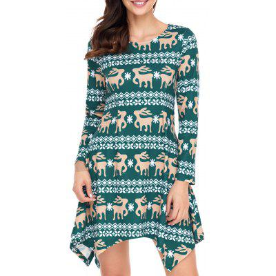 Christmas Long Sleeve Deer Print Asymmetrical DressWomens Dresses<br>Christmas Long Sleeve Deer Print Asymmetrical Dress<br><br>Dresses Length: Mini<br>Material: Polyester, Spandex<br>Neckline: Round Collar<br>Package Contents: 1 x Dress<br>Pattern Type: Print<br>Season: Fall, Spring, Winter<br>Silhouette: Asymmetrical<br>Sleeve Length: Long Sleeves<br>Style: Casual<br>Weight: 0.4000kg<br>With Belt: No