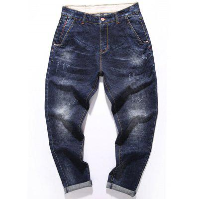 Whisker Design Zip Fly Tapered Fit Jeans