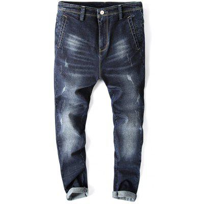 Casual Whisker Design Zip Fly Tapered Jeans