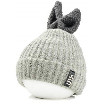 Outdoor Rabbit Ear Embellished Flanging Knitted Beanie
