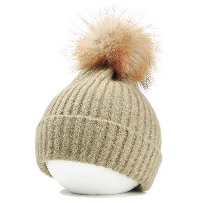 Vintage Fuzzy Ball Embellished Flanging Lightweight Beanie