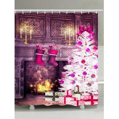 Christmas Fireplace and Tree Printed Waterproof Shower Curtain