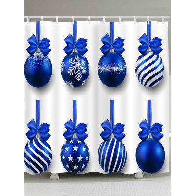 Christmas Blue Balls Printed Waterproof Shower Curtain