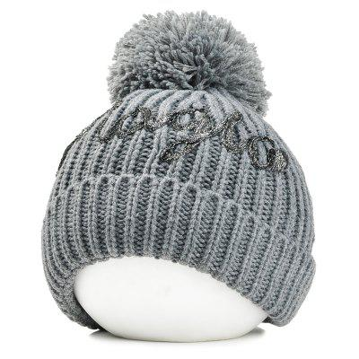 Fuzzy Ball Embellished Crochet Knitted Beanie