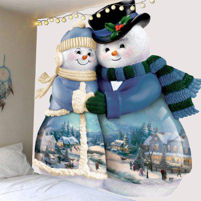 Hugged Snowmen Couple Pattern Wall Tapestry
