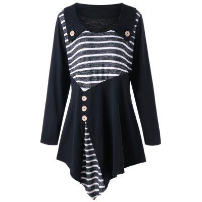 Buy BLACK XL Plus Size Striped Asymmetric Tunic T-shirt for $22.04 in GearBest store