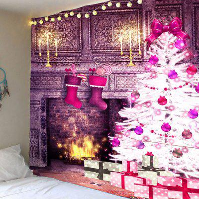 Christmas Fireplace And Tree Pattern Wall Art Tapestry