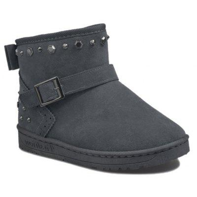 Bow Rivets Buckle Strap Snow Boots