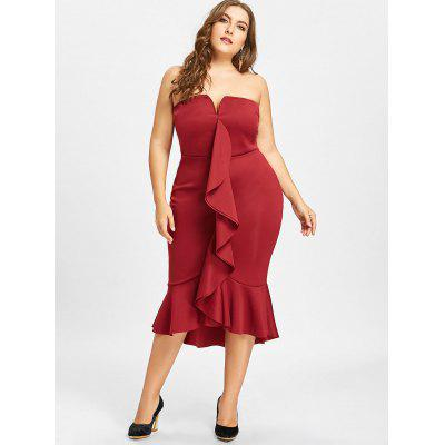 Plus Size Ruffle Mermaid Tube DressPlus Size Dresses<br>Plus Size Ruffle Mermaid Tube Dress<br><br>Dresses Length: Mid-Calf<br>Material: Polyester<br>Neckline: Strapless<br>Package Contents: 1 x Dress<br>Pattern Type: Solid Color<br>Season: Spring, Winter, Summer, Fall<br>Silhouette: Trumpet/Mermaid<br>Sleeve Length: Sleeveless<br>Style: Casual<br>Waist: Empire<br>Weight: 0.5900kg<br>With Belt: No