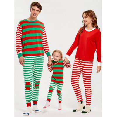 Patched Striped Family Christmas Pajama Set