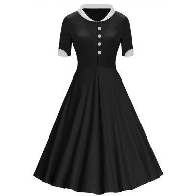 Buttons Stand Collar Vintage Midi Dress