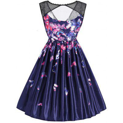 Butterfly Print Sleeveless Mesh Panel Vintage Dress