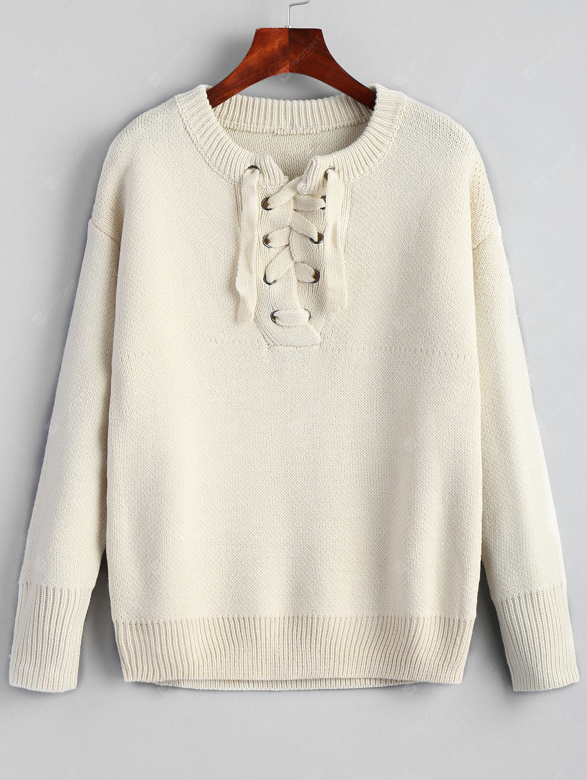 Drop Schulter Lace Up Plain Pullover
