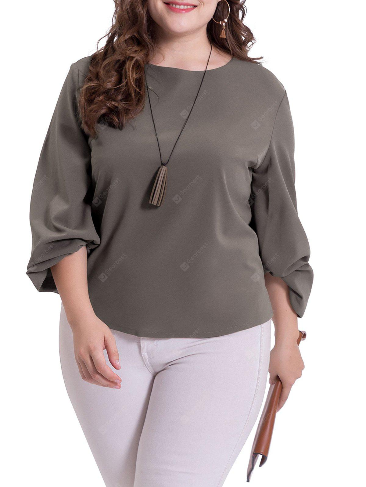 Casual Plus Size Puff Sleeve Blouse