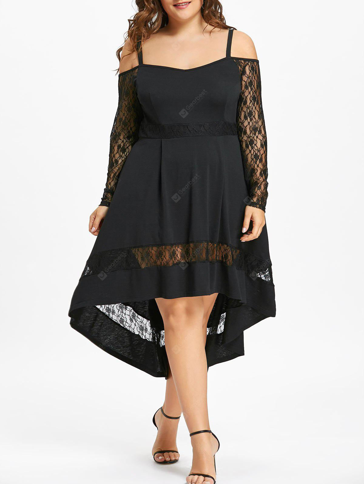 BLACK 3XL Plus Size Lace Insert Dip Hem Party Dress