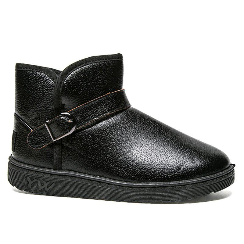 Winter Buckled Slip On Ankle Boots
