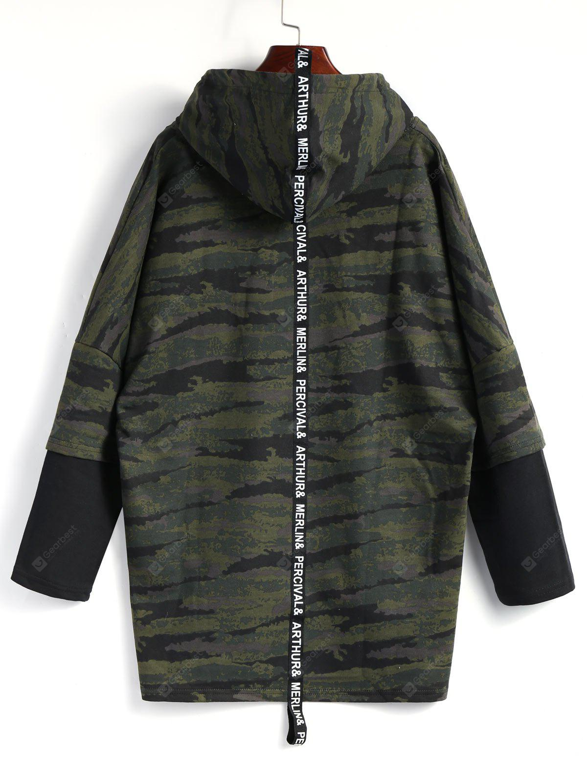 High Low Hooded Camo Top