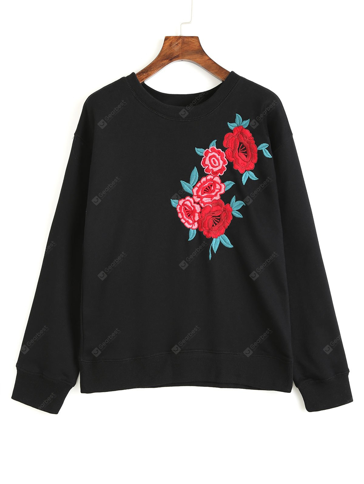 Floral Embroidered Long Sleeve Loose Sweatshirt