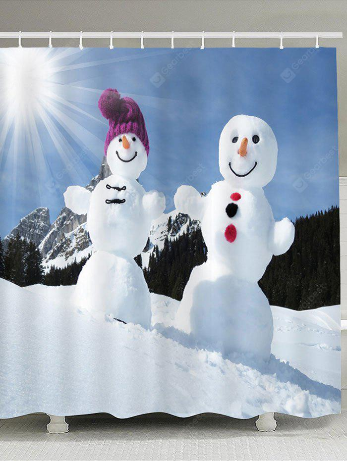 Sunshine Snowmen Couple Impreso cortina de ducha