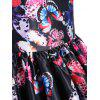 Mesh Panel Butterfly Print Vintage Dress - BLACK