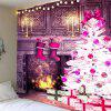 Christmas Fireplace And Tree Pattern Wall Art Tapestry - PURPLE