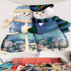 Hugged Snowmen Couple Pattern Wall Tapestry - BLUE AND WHITE