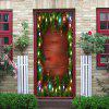 Christmas Pine String Lights Pattern Door Art Stickers - COLORMIX