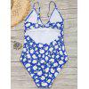Cut Out Tiny Floral High Leg Swimwear - BLUE