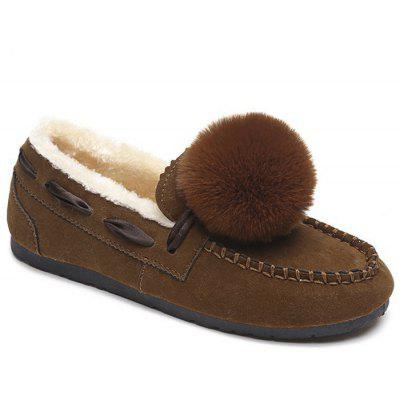 Pompom Whipstitch Loafer Shoes
