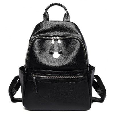 PU Leather Side Pockets Backpack With Handle