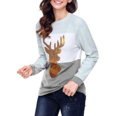 Christmas Sequined Deer Color Blocking Top