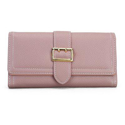 Stitching Buckle Strap PU Leather Wallet