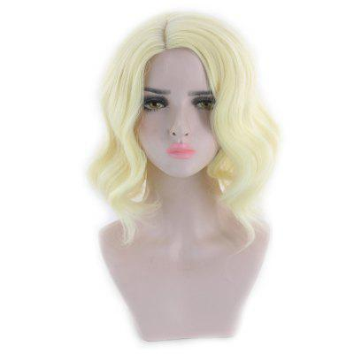 Short Side Parting Wavy Cosplay Synthetic Wig puella magi madoka magica tomoe mami gold short cosplay wig free two ponytails