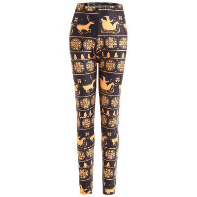 Buy BLACK 2XL Christmas Elk Print Plus Size Leggings for $19.54 in GearBest store