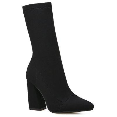Chunky Heel Stretch Mid-calf Boots