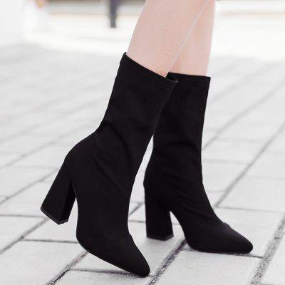 Chunky Heel Stretch Mid-calf BootsWomens Boots<br>Chunky Heel Stretch Mid-calf Boots<br><br>Boot Height: Mid-Calf<br>Boot Type: Fashion Boots<br>Closure Type: Slip-On<br>Gender: For Women<br>Heel Height: 9.5CM<br>Heel Height Range: High(3-3.99)<br>Heel Type: Chunky Heel<br>Package Contents: 1 x Boots (pair)<br>Pattern Type: Solid<br>Platform Height: 0.5CM<br>Season: Spring/Fall, Winter<br>Shoe Width: Medium(B/M)<br>Toe Shape: Pointed Toe<br>Upper Material: Stretch Fabric<br>Weight: 1.3800kg