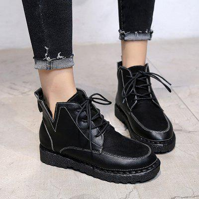 Cutout Side Round Toe Ankle BootsWomens Boots<br>Cutout Side Round Toe Ankle Boots<br><br>Boot Height: Ankle<br>Boot Type: Fashion Boots<br>Closure Type: Lace-Up<br>Gender: For Women<br>Heel Height: 3CM<br>Heel Height Range: Flat(0-0.5)<br>Heel Type: Flat Heel<br>Package Contents: 1 x Boots (pair)<br>Pattern Type: Patchwork<br>Season: Spring/Fall, Winter<br>Shoe Width: Medium(B/M)<br>Toe Shape: Round Toe<br>Upper Material: Synthetic<br>Weight: 1.1200kg