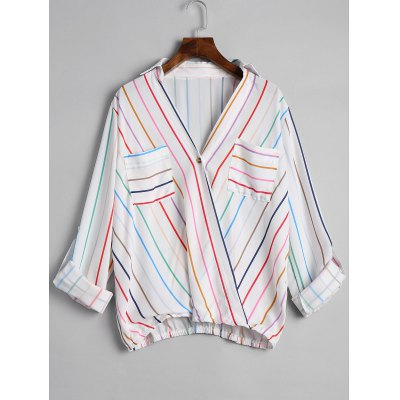 Striped Roll Sleeve Wrap Blouse