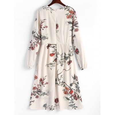 Lace Up Floral Midi Long Sleeve Dress Escondido for all
