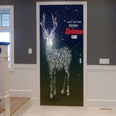 Sparkly Christmas Deer Pattern Door Pegatinas de arte
