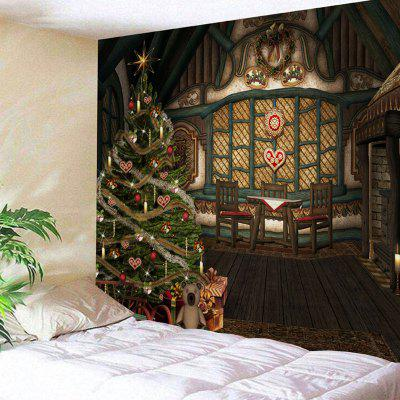 Wooden House Christmas Tree Print Wall Art Tapestry - $21.35 Free ...