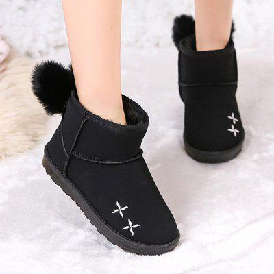 Embroidered Pom Pom Embellish Ankle BootsWomens Boots<br>Embroidered Pom Pom Embellish Ankle Boots<br><br>Boot Height: Ankle<br>Boot Type: Snow Boots<br>Closure Type: Slip-On<br>Embellishment: Embroidery<br>Gender: For Women<br>Heel Height: 2CM<br>Heel Height Range: Flat(0-0.5)<br>Heel Type: Flat Heel<br>Package Contents: 1 x Boots (pair)<br>Pattern Type: Character<br>Season: Spring/Fall, Winter<br>Shoe Width: Medium(B/M)<br>Toe Shape: Round Toe<br>Upper Material: Suede<br>Weight: 1.1200kg